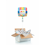"""Ballon """"surprise"""" carré gonflé à l'hélium : bon anniversaire"""