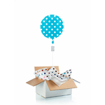 """Ballon """"surprise"""" gonflé à l'hélium : pois bleu"""