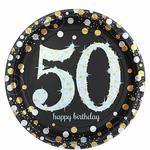 """8 assiettes jetables anniversaire """"50 ans"""""""