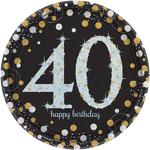 """8 assiettes jetables anniversaire """"40 ans"""""""