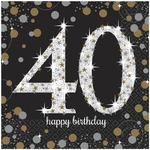 """16 serviettes en papier anniversaire """"40 ans"""" argent"""