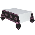 "Nappe ""Happy Birthday"" noir et rose"
