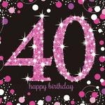 """16 serviettes en papier anniversaire """"40 ans"""" rose"""