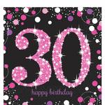 """16 serviettes en papier anniversaire """"30 ans"""" rose"""