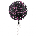 "Ballon gonflable d'anniversaire ""happy birthday"" rose étincelant"