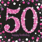 """16 serviettes en papier anniversaire """"50 ans"""" rose"""