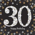 """16 serviettes en papier anniversaire """"30 ans"""" argent"""