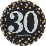 """8 assiettes jetables anniversaire """"30 ans"""""""