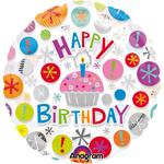 "Ballon d'anniversaire transparent ""happy birthday"" cupcake"