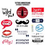 Tattoos temporaires d'anniversaire