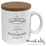 "Mug couvercle liège ""Super maîtresse"""