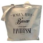 """Tote-bag reversible """"Joyeux bazar d'une super maitresse"""""""