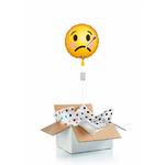 """Ballon """"surprise"""" gonflé à l'hélium : emoji visage fievreux"""