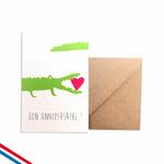 """Carte d'anniversaire """"bon anniversaire"""" crocodile"""