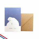 """Carte """"bonnes fêtes"""" ours blanc"""