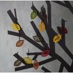 Décorations pour arbre en bois - feuilles