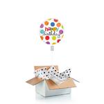 """Ballon d'anniversaire """"surprise"""" gonflé à l'hélium : pois colorés"""