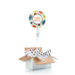 """Ballon d'anniversaire """"surprise"""" gonflé à l'hélium  """" Happy birthday"""" retro"""