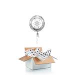 """Ballon de noel """"surprise"""" gonflé à l'hélium : """"flocon"""" argent"""