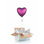 """Ballon """"surprise"""" gonflé à l'hélium : grand coeur rose foncé satiné"""