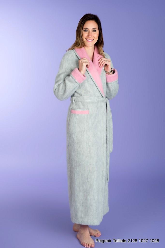 robe de chambre femme bicolore 100 laine peignoirs label pyr n es pyrenees e shop. Black Bedroom Furniture Sets. Home Design Ideas