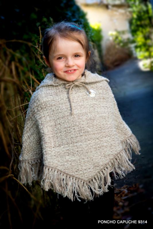 Poncho enfant en laine