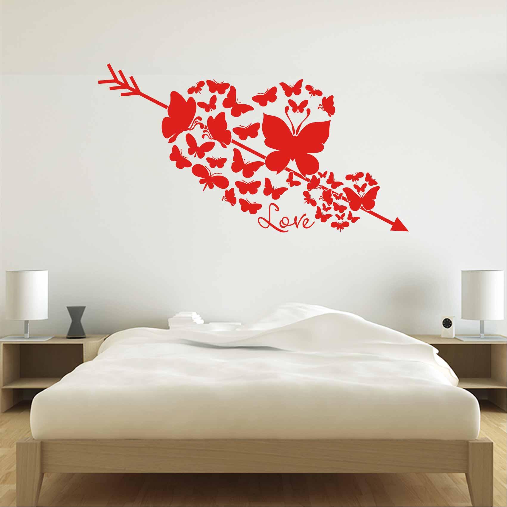 Stickers Chambre Coeur Papillon - Autocollant muraux et deco