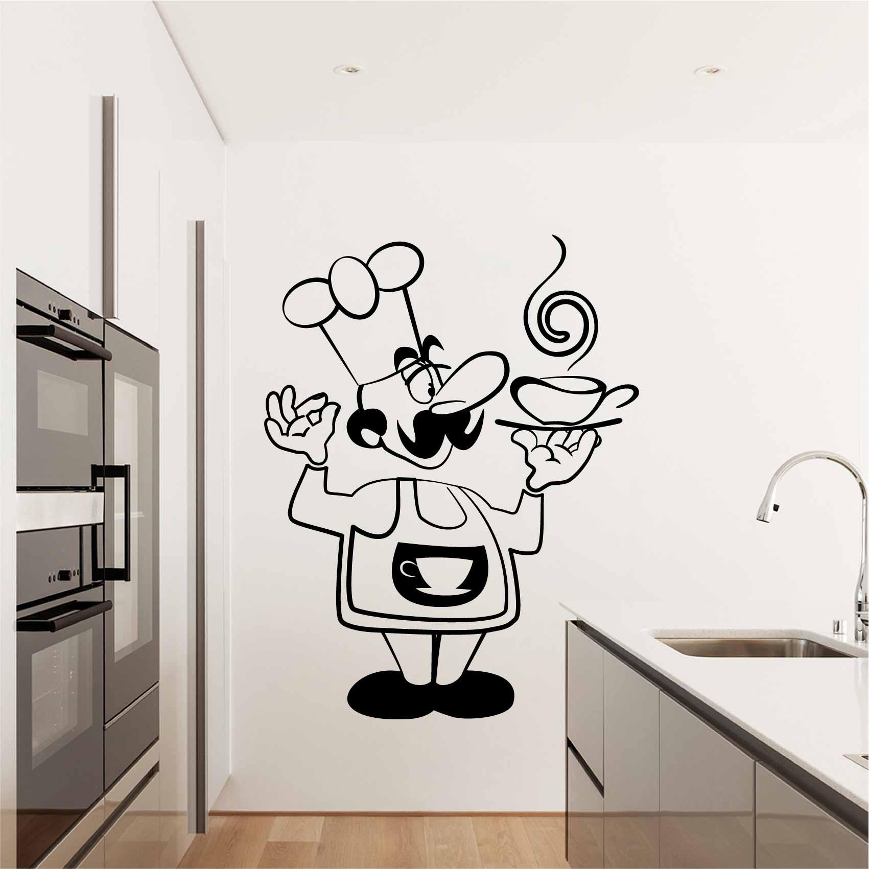 Stickers Cuisine Chef Dessin - Autocollant muraux et deco