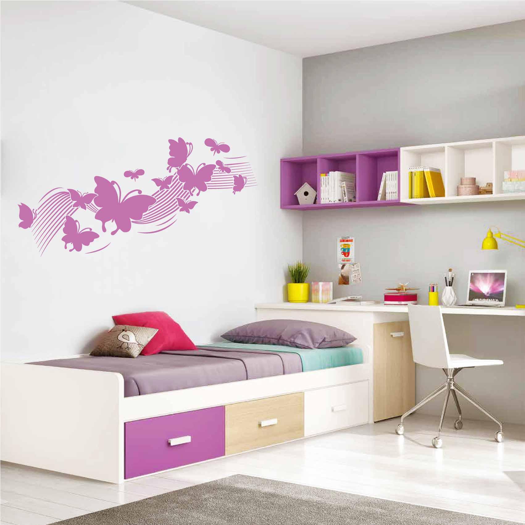 Stickers Chambre Fille Papillon - Autocollant muraux et deco