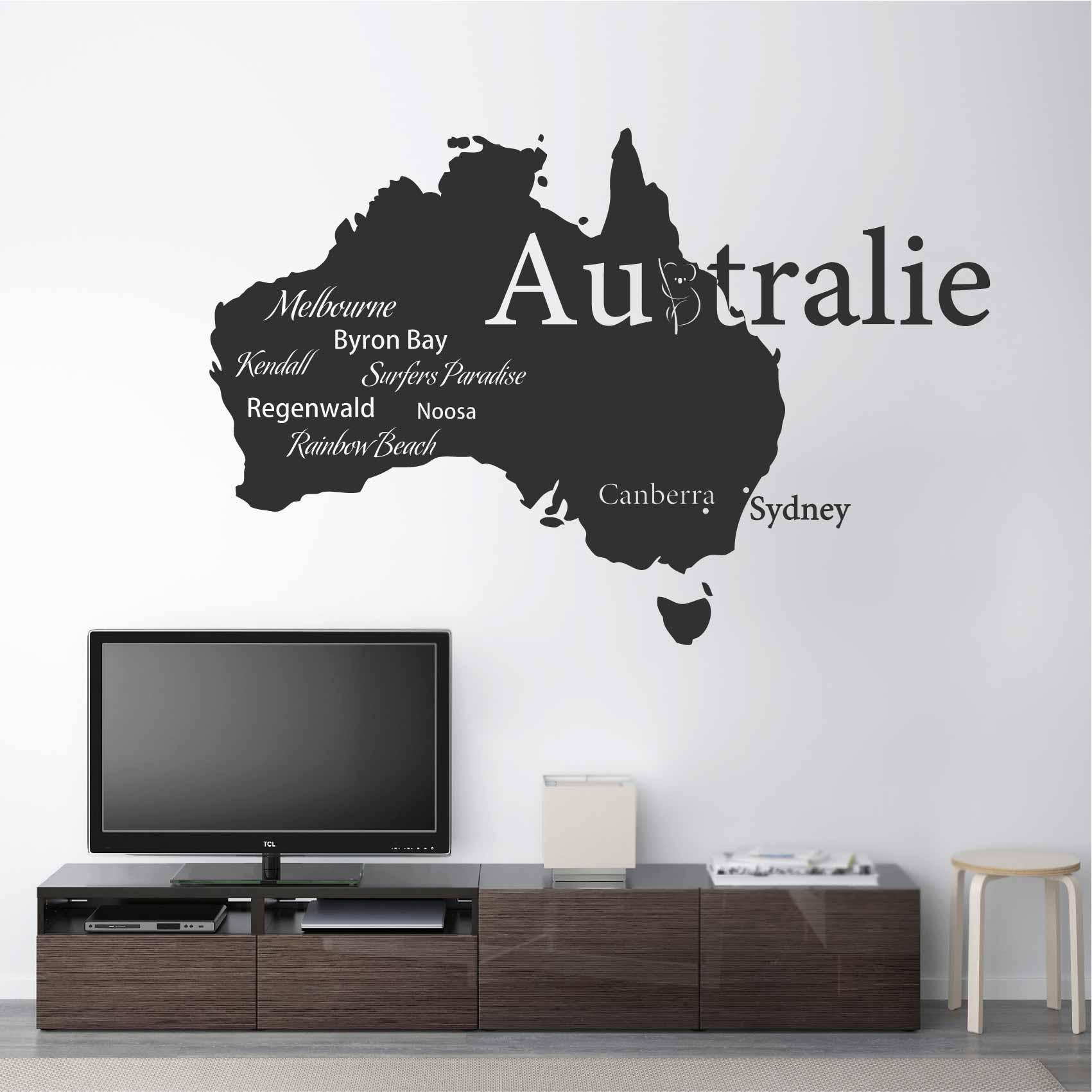 Carte Australie Deco.Stickers Australie Carte