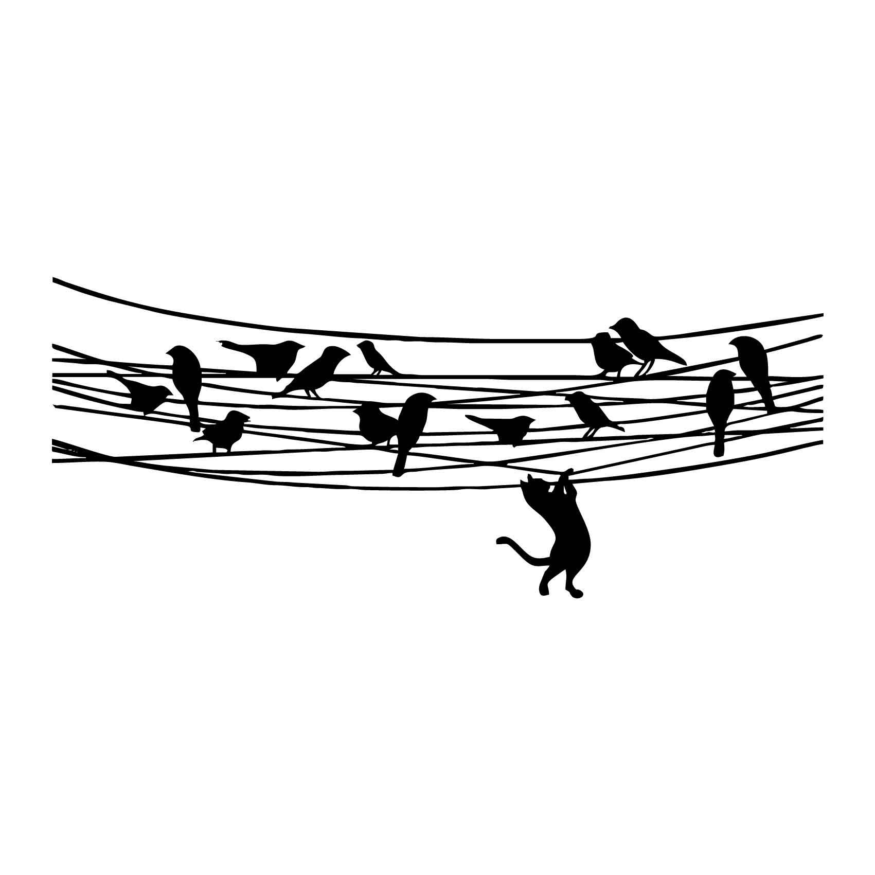 Sticker Oiseaux Sur Un Fil stickers oiseaux fil et chat