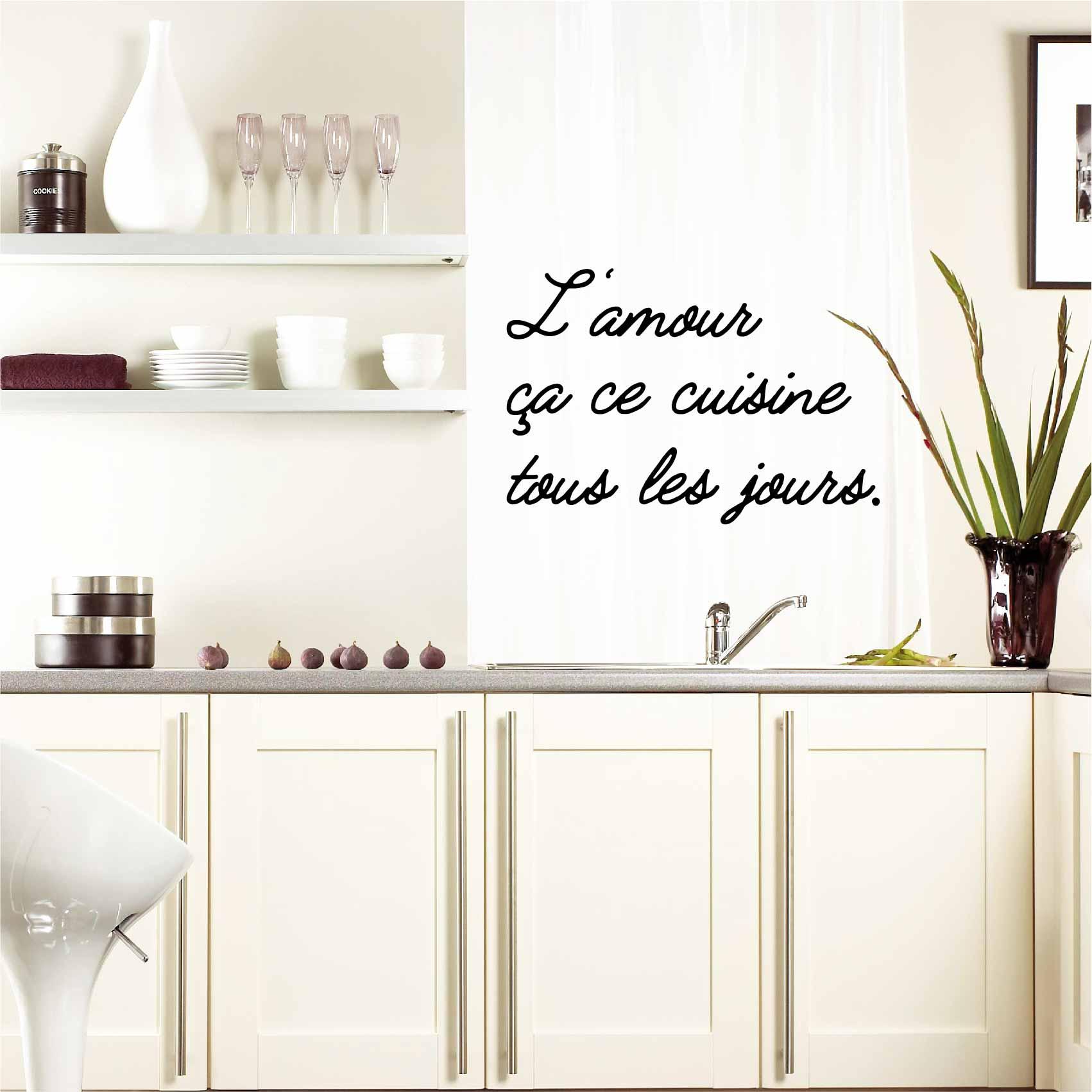 Stickers phrase amour cuisine - Autocollant muraux et deco