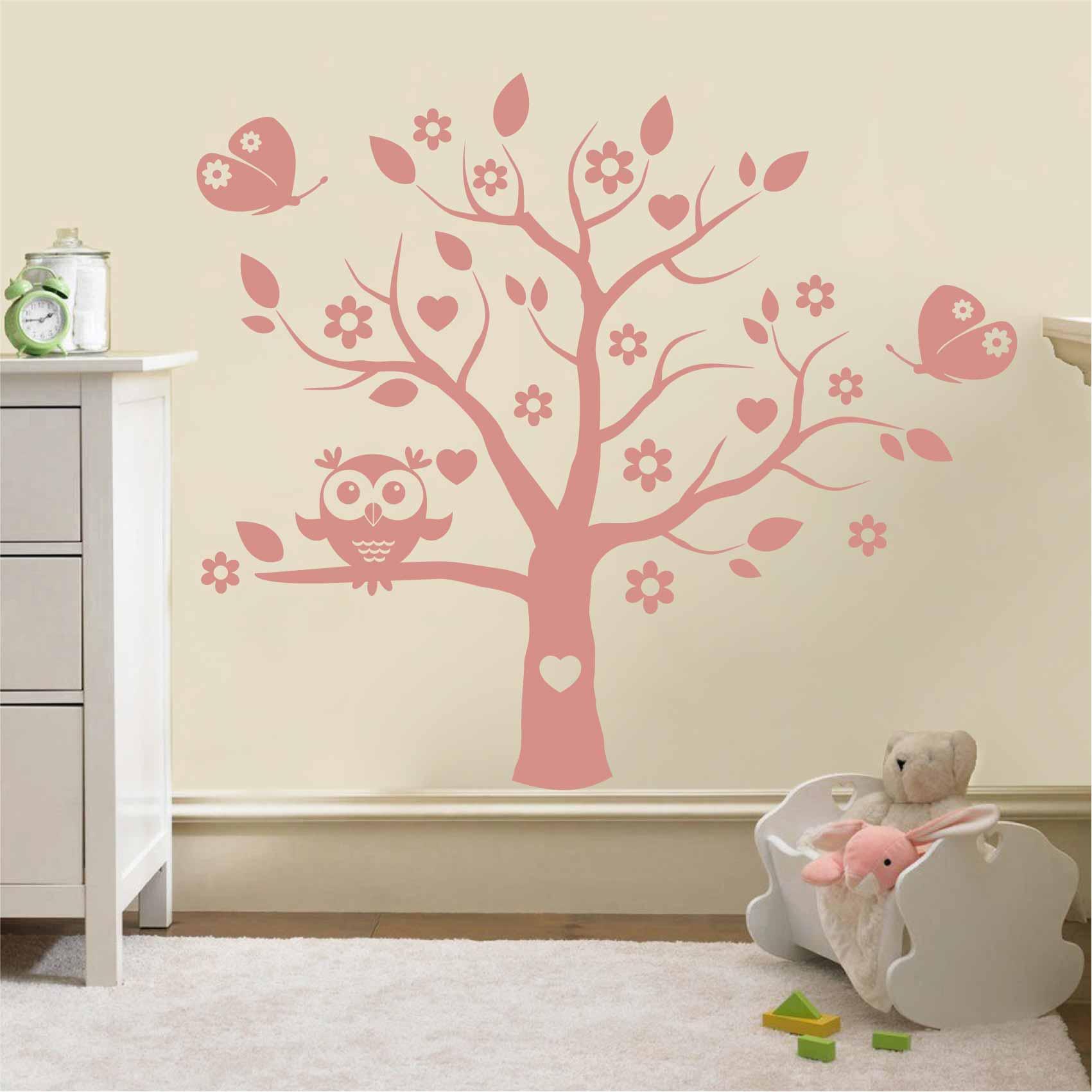 Stickers Muraux Chambre Bébé stickers arbre et hibou