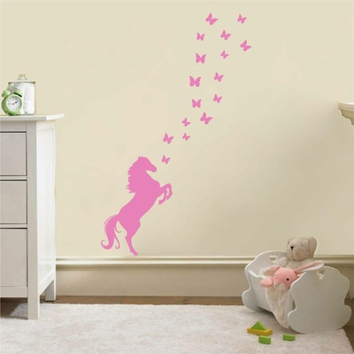Stickers Cheval Papillons
