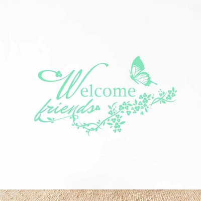 Stickers papillon Welcome friends