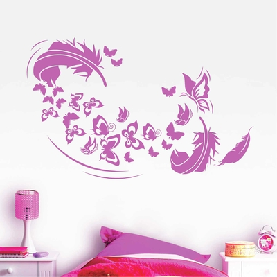 Stickers Papillon Plume