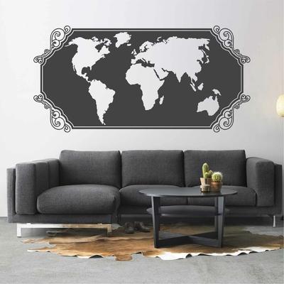 Stickers Carte du Monde Vintage