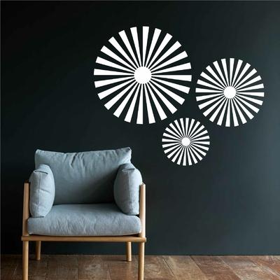 Stickers retro ronds abstrait