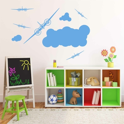 Stickers Avions Nuages