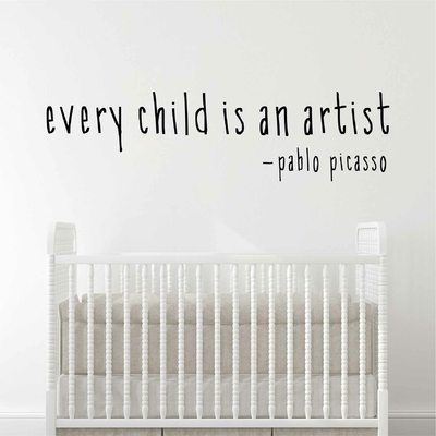 Stickers Citation Picasso every child is an artist