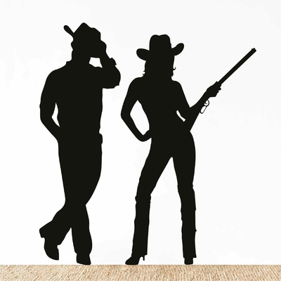 Stickers Silhouette Cowboy Cowgirl