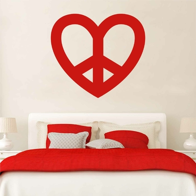 Stickers Coeur Peace and Love