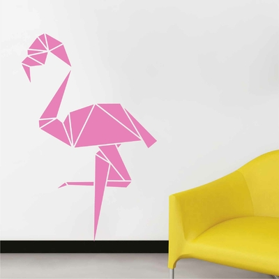 Stickers Flamant Rose Origami Inverse