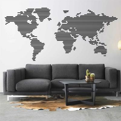 Stickers Carte du Monde lignes