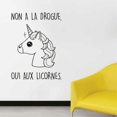 Stickers Non a la drogue Oui aux Licornes