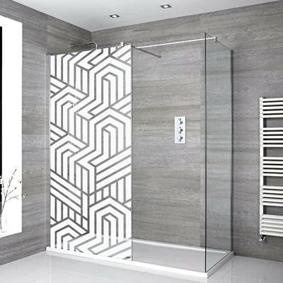 Stickers Porte de douche depoli geometrique