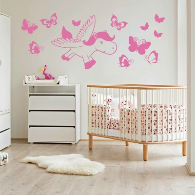 Stickers Poney Papillon