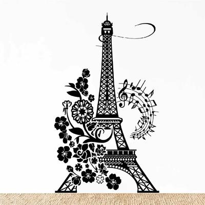 Stickers Tour Eiffel Fleurs