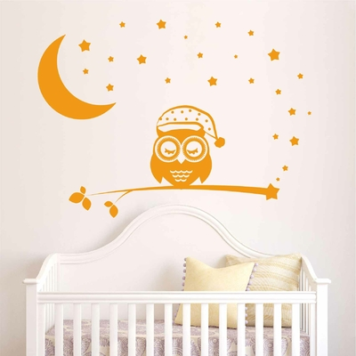 stickers hibou et chouette autocollant muraux enfant b b. Black Bedroom Furniture Sets. Home Design Ideas