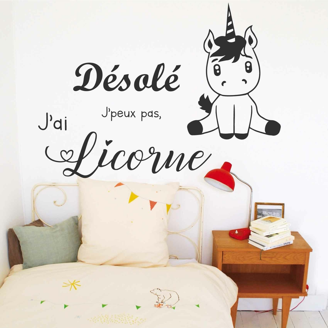 stickers j 39 peux pas j 39 ai licorne autocollant muraux et deco. Black Bedroom Furniture Sets. Home Design Ideas